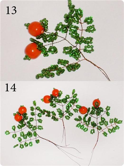 фото инструкция апельсиновое дерево из бисера
