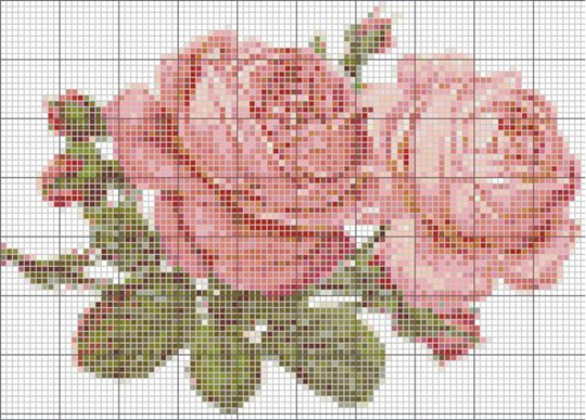 Вышивка крестом с большим количеством цветов