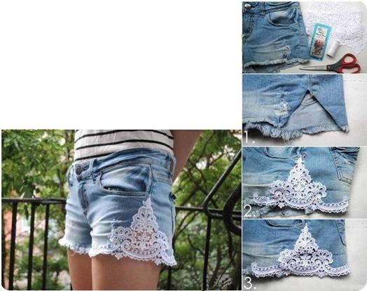 Декор джинсовых шорт своими руками 947
