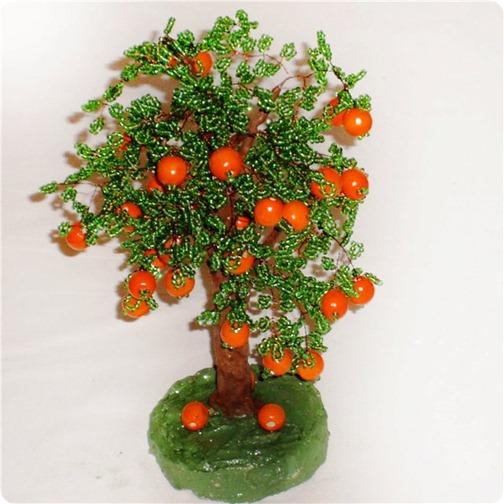 законченный вариант апельсиновое дерево из бисера