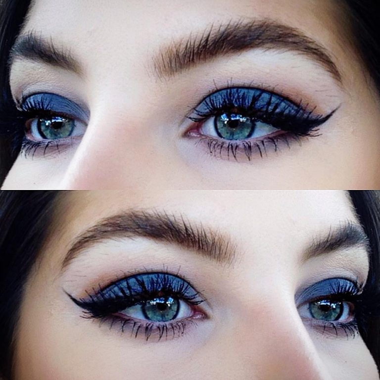 Макияж для светло голубых глаз и темных волос