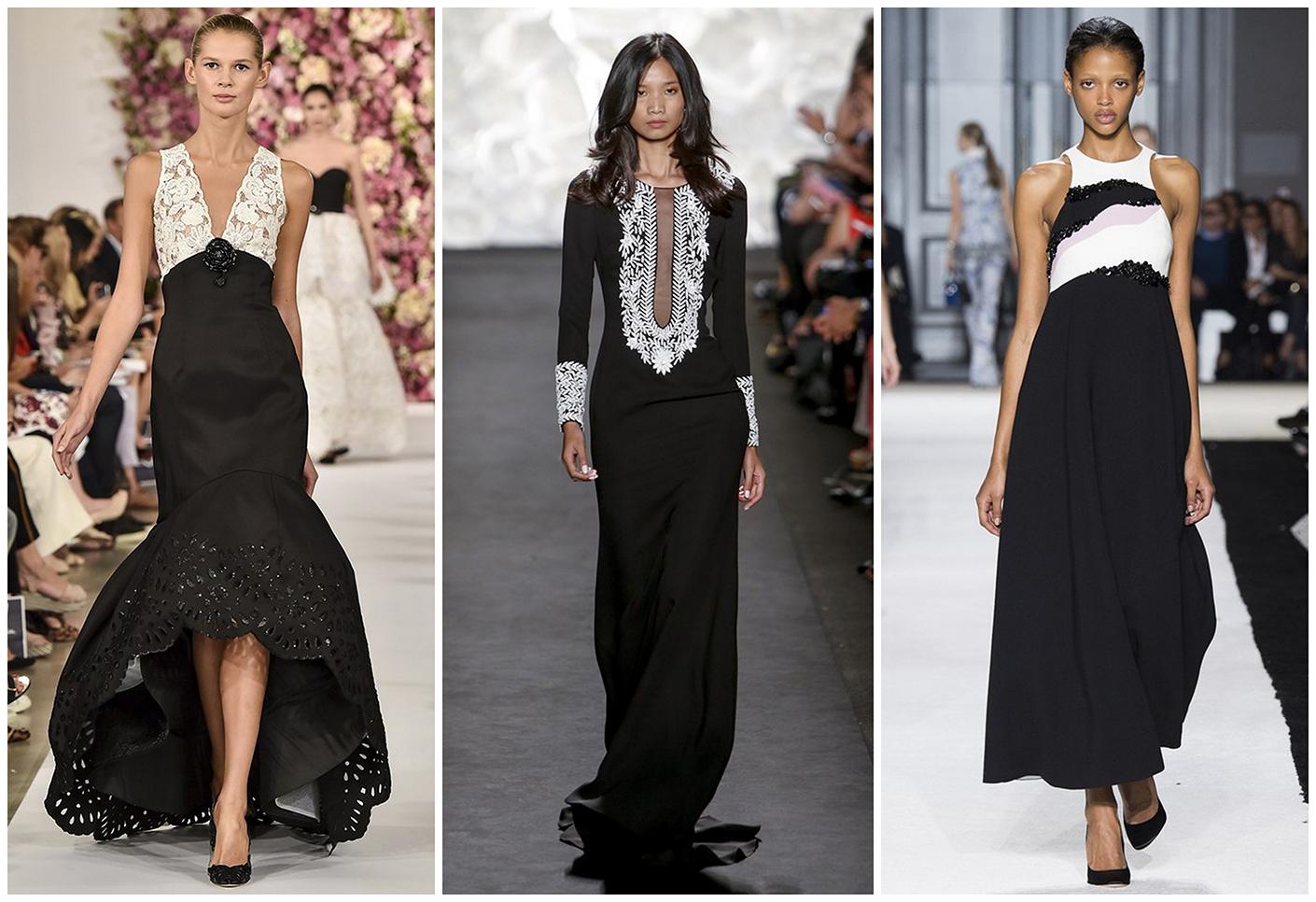 Черно-белые вечерние платья
