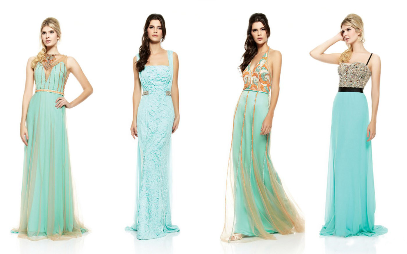 Эскиз длинных модных платьев