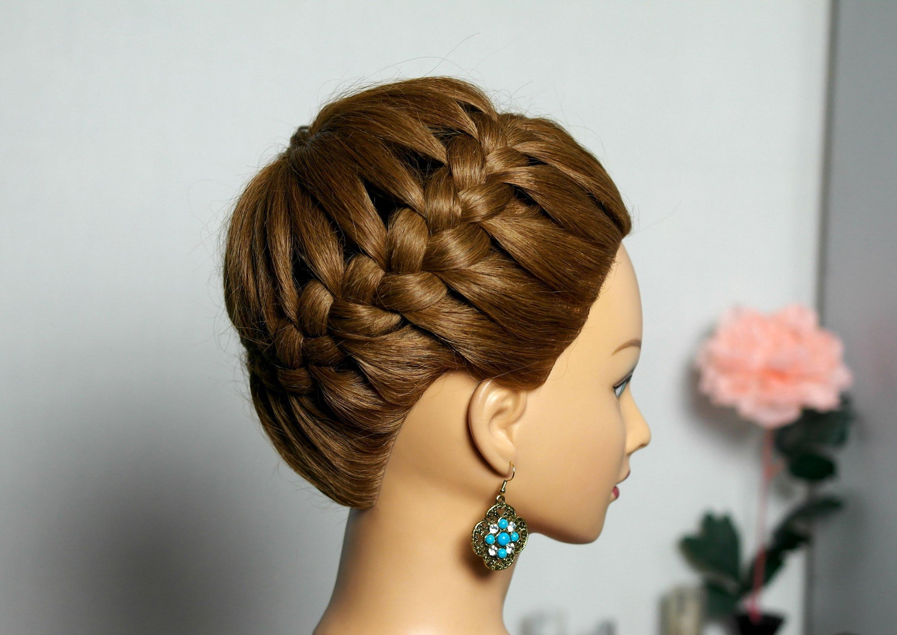 Прически на средние волосы из кос своими