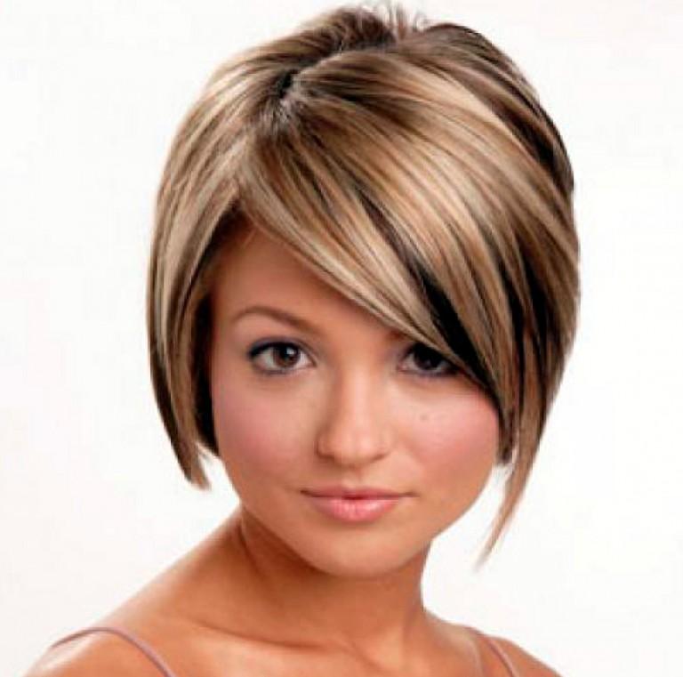 Прически на короткий волос фото круглое лицо каскад