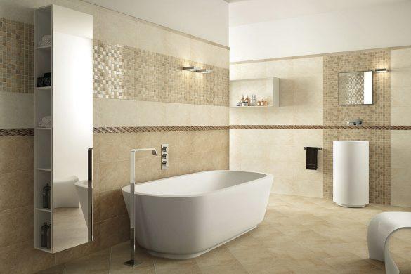 Современная ванная комната в бежевых тонах