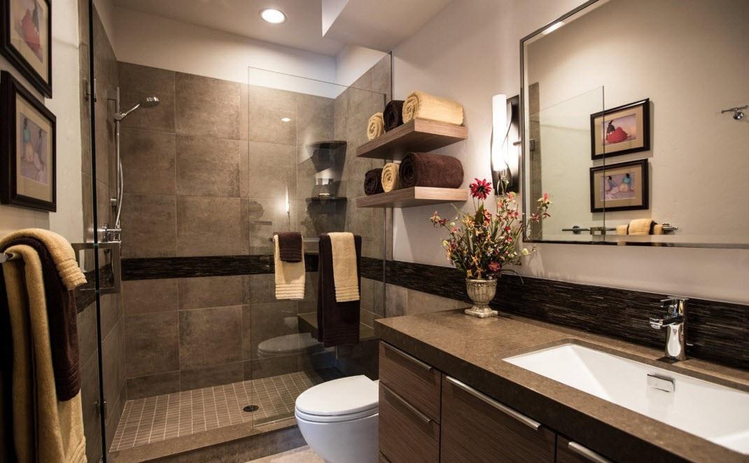 Ванная комната в бежевых и коричневых тонах