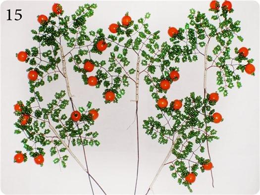веточки апельсинового дерева с ягодками из бисера