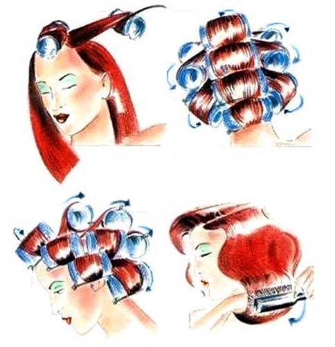 накручивание волос на бигуди.