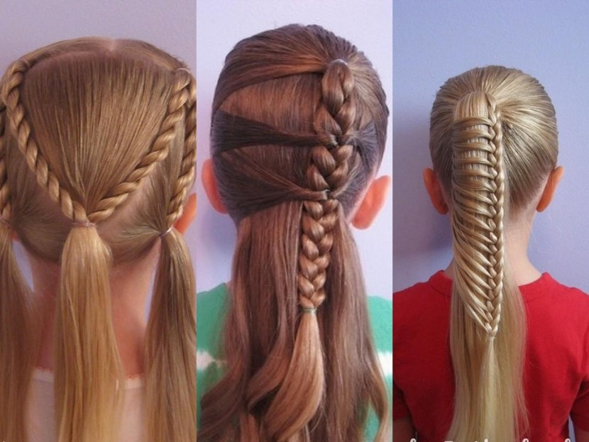 Косички на средние волосы видео своими руками в школу